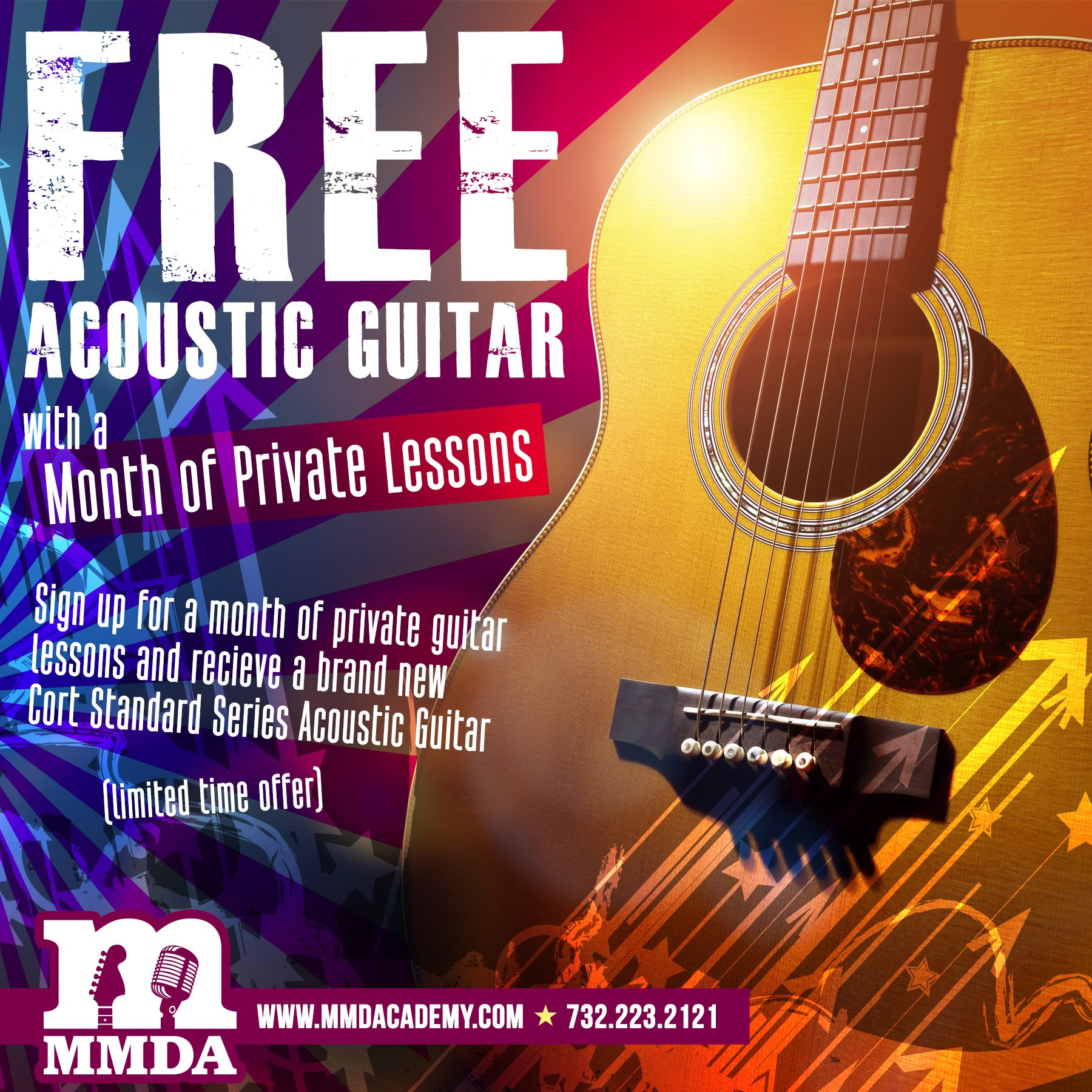Free Acoustic Guitar with Month of Lessons